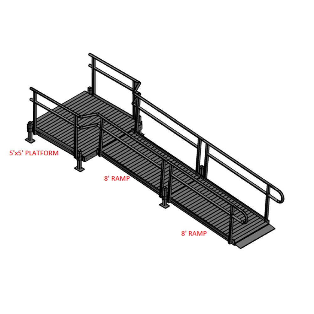 16-55S Silver Spring 16 Straight Modular Ramp with 5 Platform