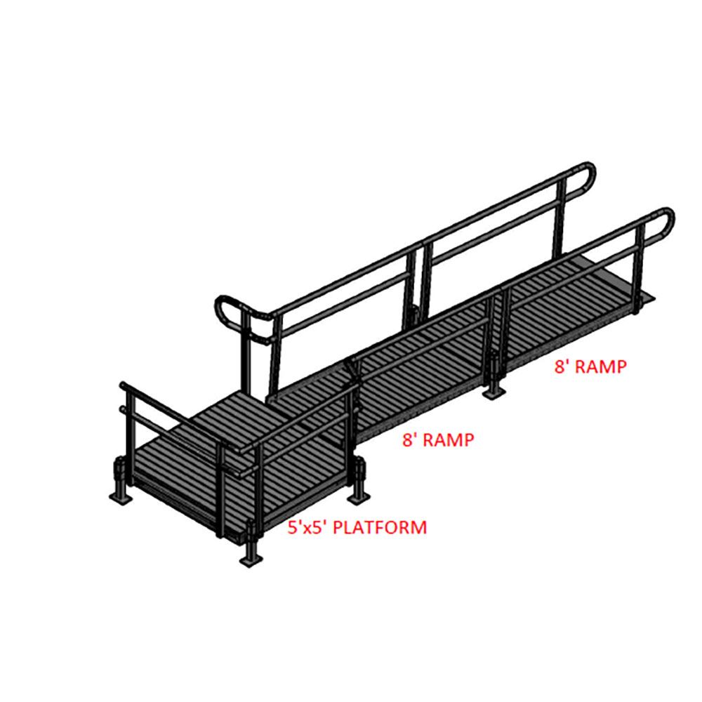16-55T Silver Spring 16 Side-Entry Straight Modular Ramp with 5 Platform