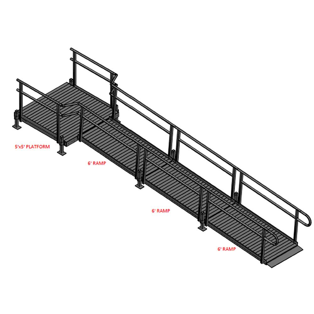 18-55S Silver Spring 18 Straight Modular Ramp with 5 Platform