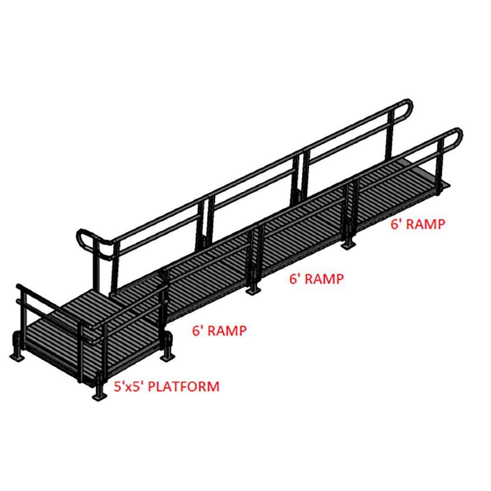 18-55T Silver Spring 18 Side-Entry Straight Modular Ramp with 5 Platform