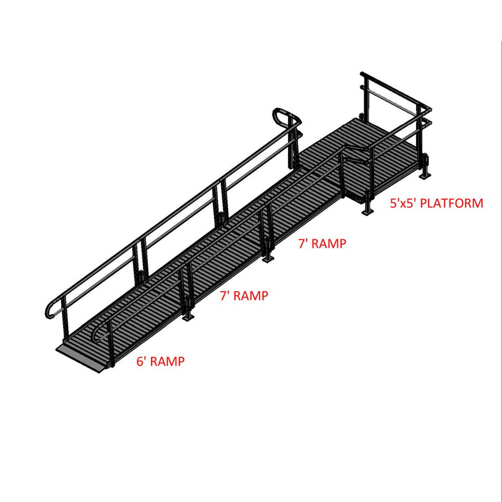 20-55T Silver Spring 20 Side-Entry Straight Modular Ramp with 5 Platform