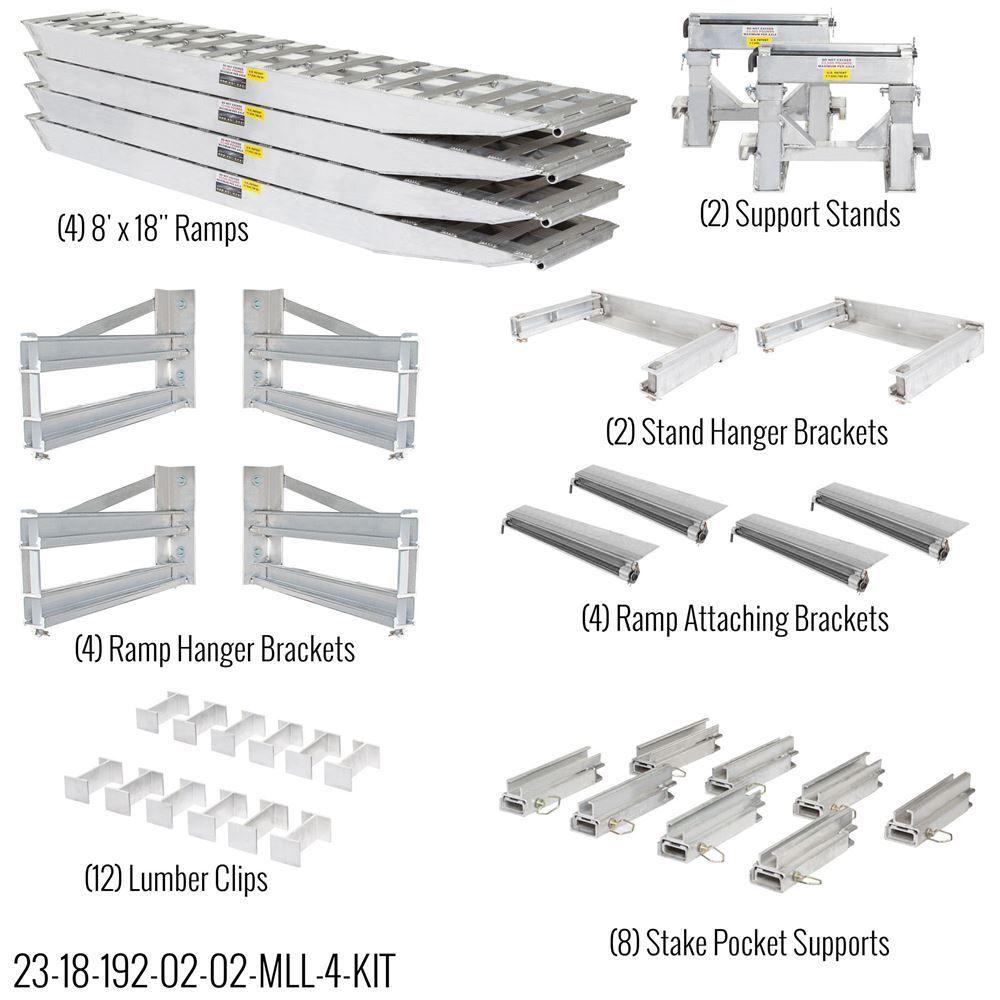 23-18-192-02-02-MLL-4-KIT 8 L x 18 W 4 Bunk Load Leveler  4 Ramp Master Kit for 18 H Step Deck Trailers  23500 lb Capacity