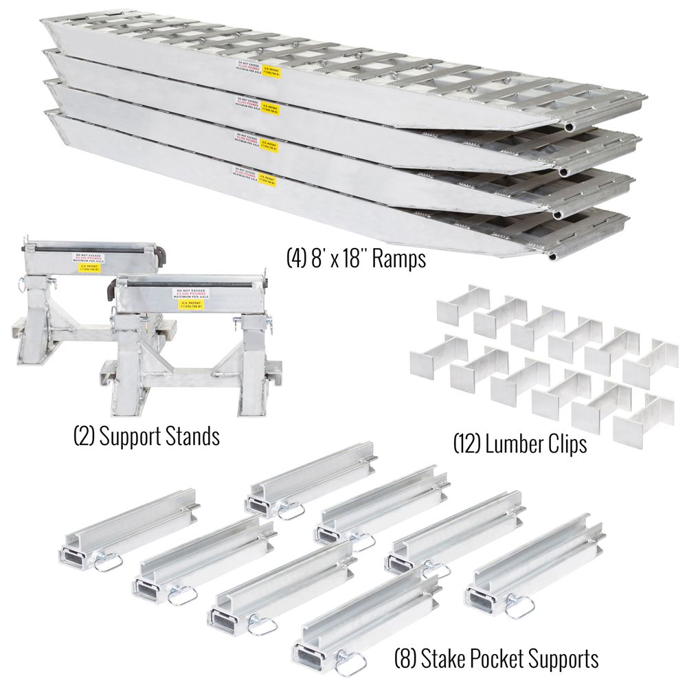 23-18-192-02-02-MLL-4 8 L x 18 W 4 Bunk Load Leveler  4 Ramp System for 18 H Step Deck Trailers  23500 lb Capacity