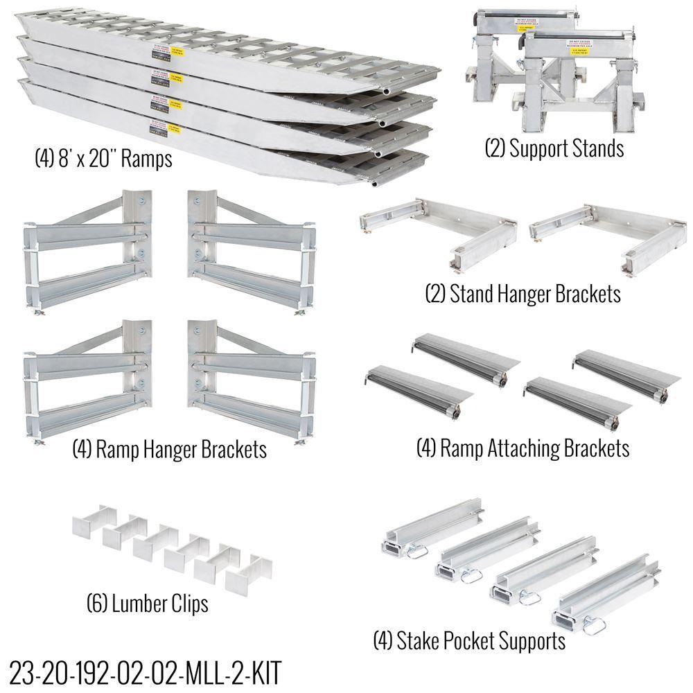 23-20-192-02-02-MLL-2-KIT 8 L x 20 W 2 Bunk Load Leveler  4 Ramp Master Kit for 20 H Step Deck Trailers  23500 lb Capacity