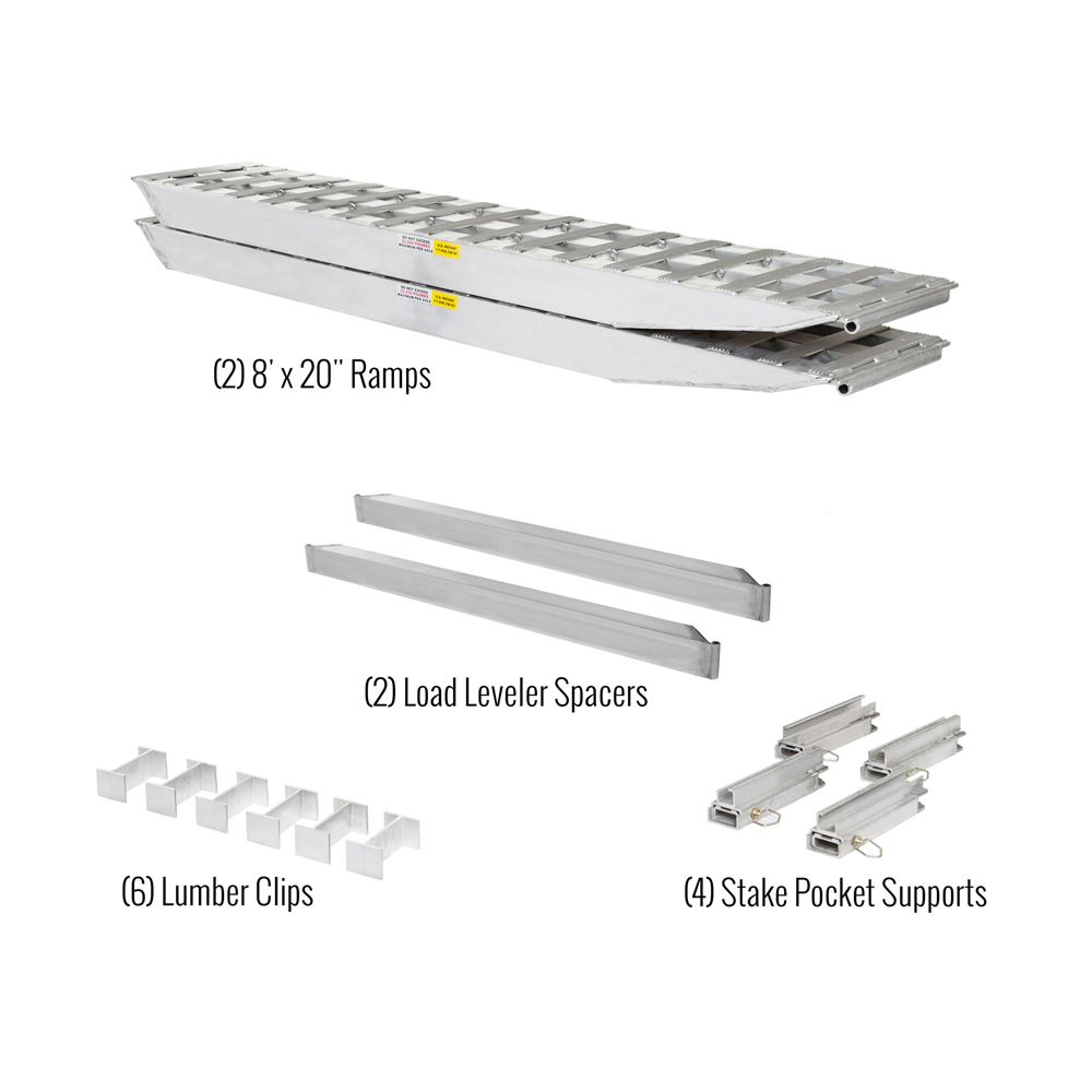 23-26-096-02-02-MLL-2 8 L x 20 W 2 Bunk Load Leveler  2 Ramp System for 26 H Step Deck Trailers  23500 lb Capacity
