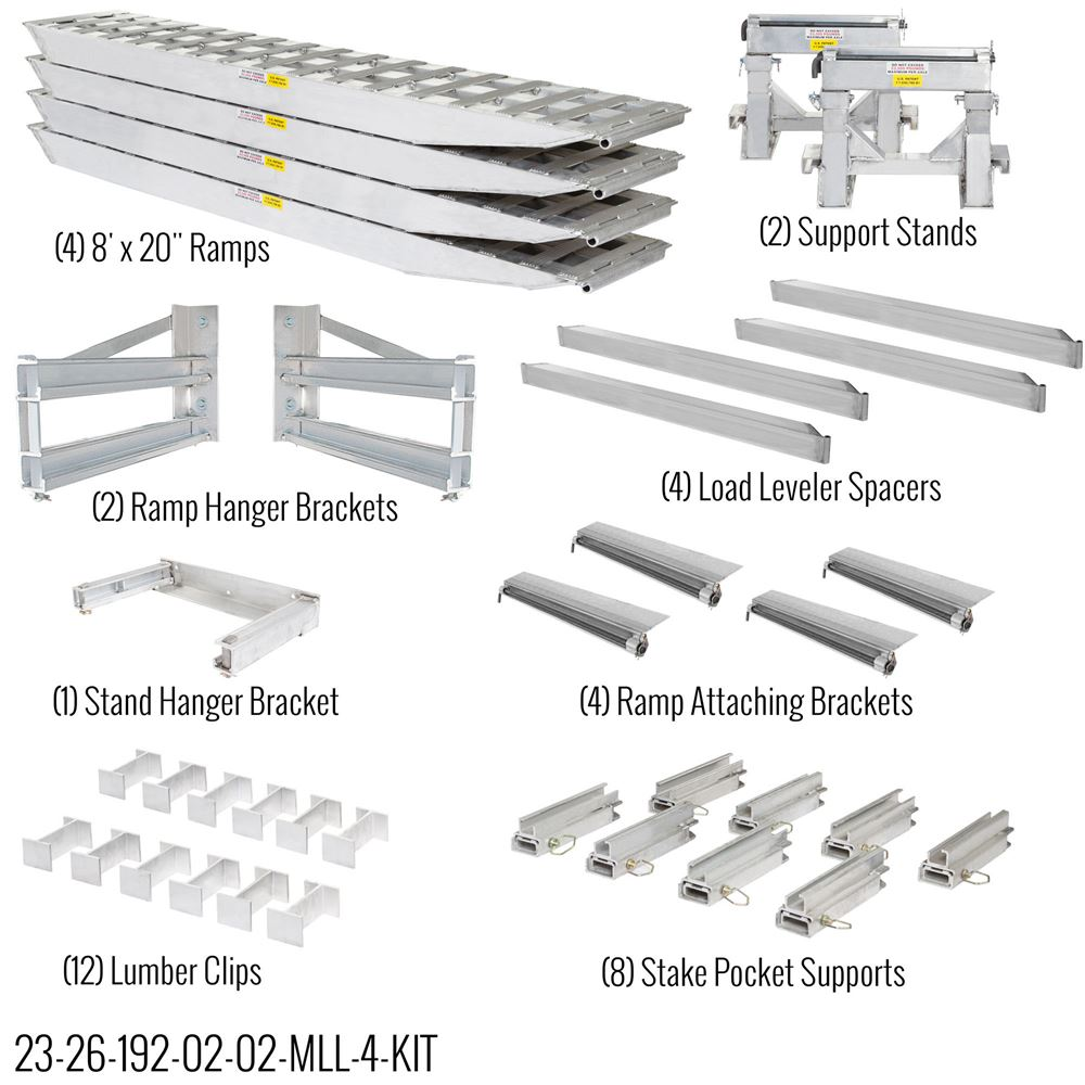23-26-192-02-02-MLL-4-KIT 8 L x 20 W 4 Bunk Load Leveler  4 Ramp Master Kit for 26 H Step Deck Trailers  23500 lb Capacity