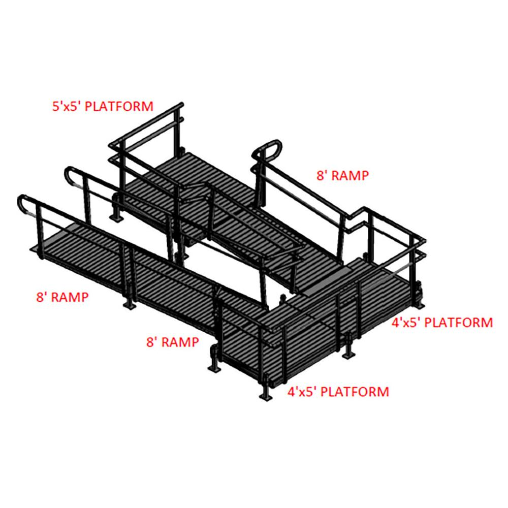 24-55TSB45 Silver Spring 24 Side-Entry U-Shaped Modular Ramp with 5 Top Platform 8 Turning Platform