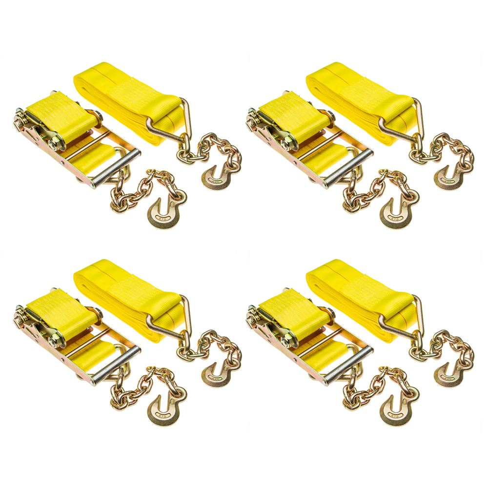 4in-Rat-Chain-40-4 4-Pack of 4 x 40 Heavy-Duty Ratchet Strap with Chain Extensions