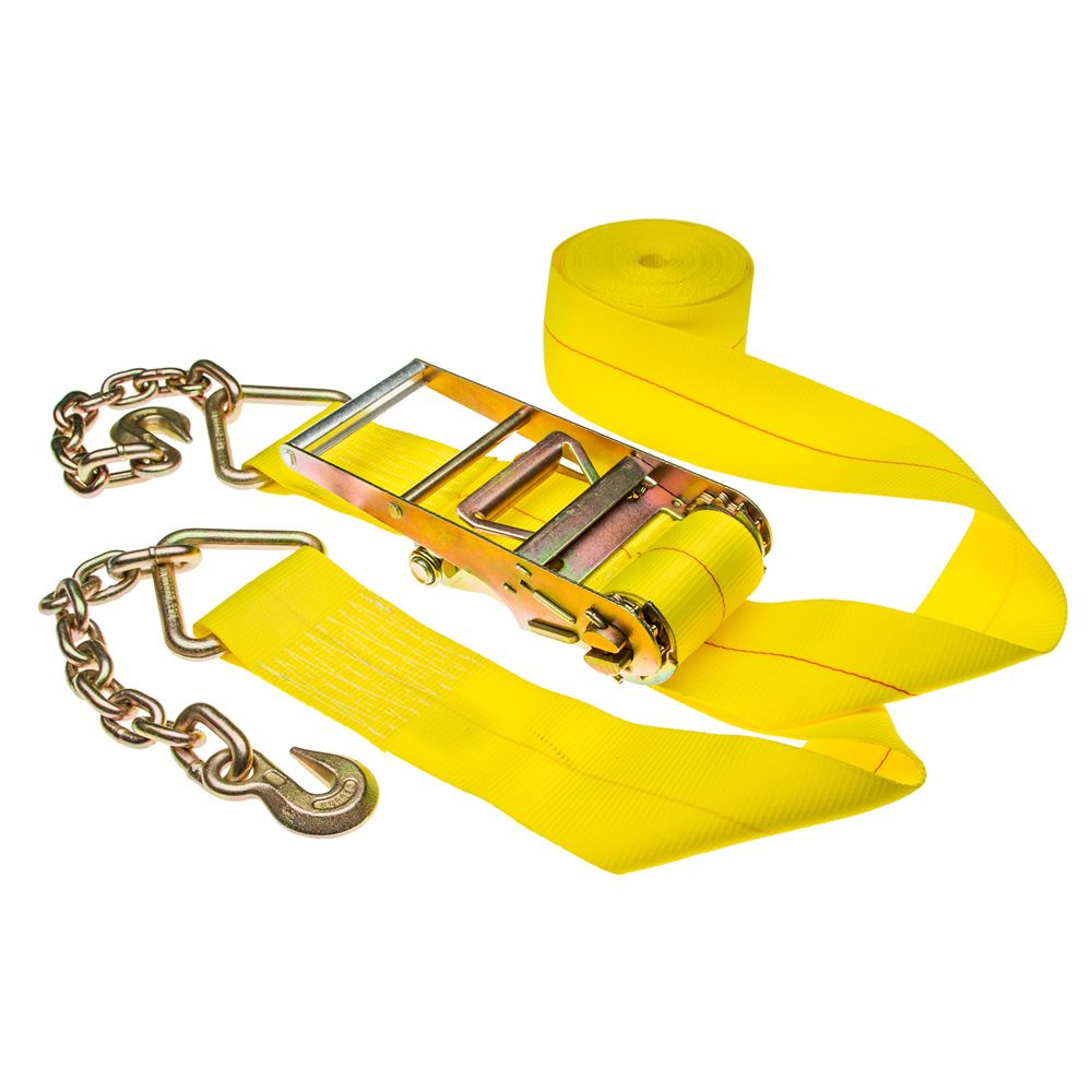 4in-Rat-Chain-40 Single 4 x 40 Heavy-Duty Ratchet Strap with Chain Extensions