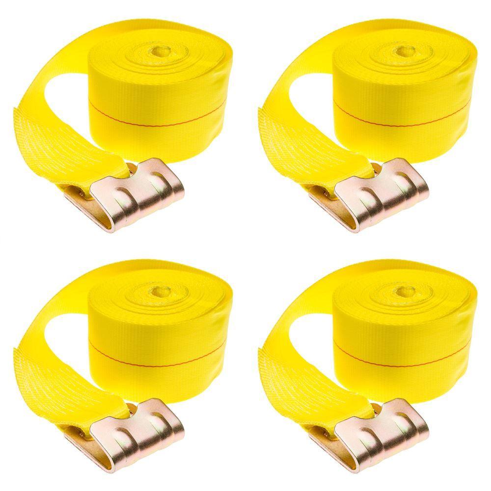 4in-Truck-Winch-Flat-WLL-40-4 4-Pack of 4 x 40 Heavy-Duty Winch Strap with Flat Hook