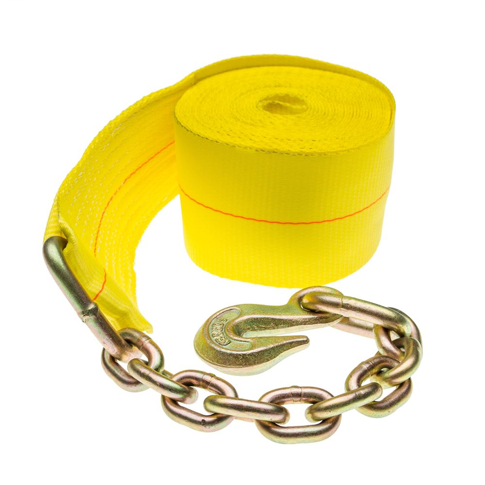 4in-Winch-Chain Single 4 x 30 Heavy-Duty Winch Strap with Chain Anchor