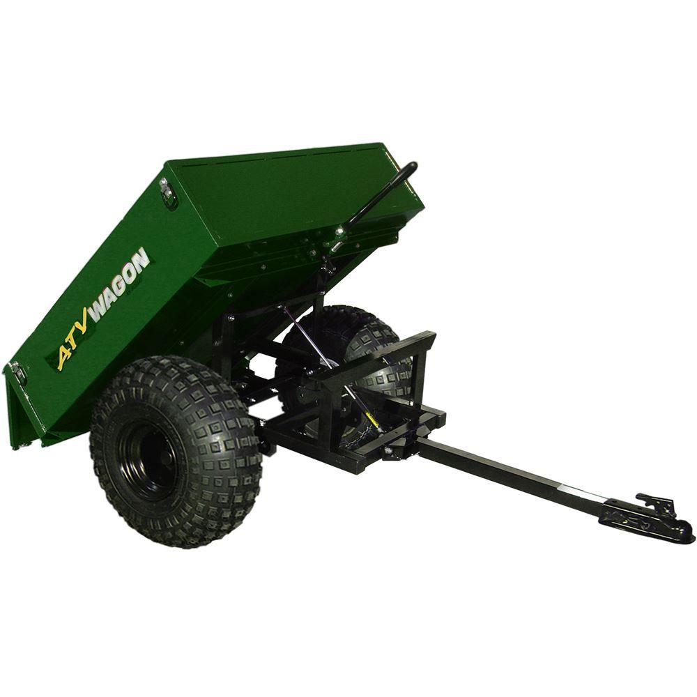 800UT-X-FG Forest Green Bosski ATV Wagon Steel ATV Dump Trailer - 800 lb Capacity