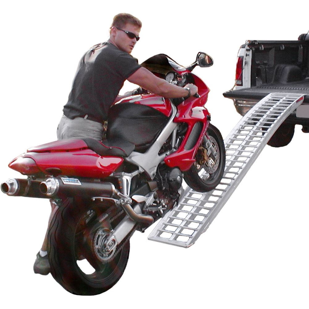 A-8416-1500-1 7 x 16 Black Widow Aluminum Non-Folding Arched Single Runner Motorcycle Ramp