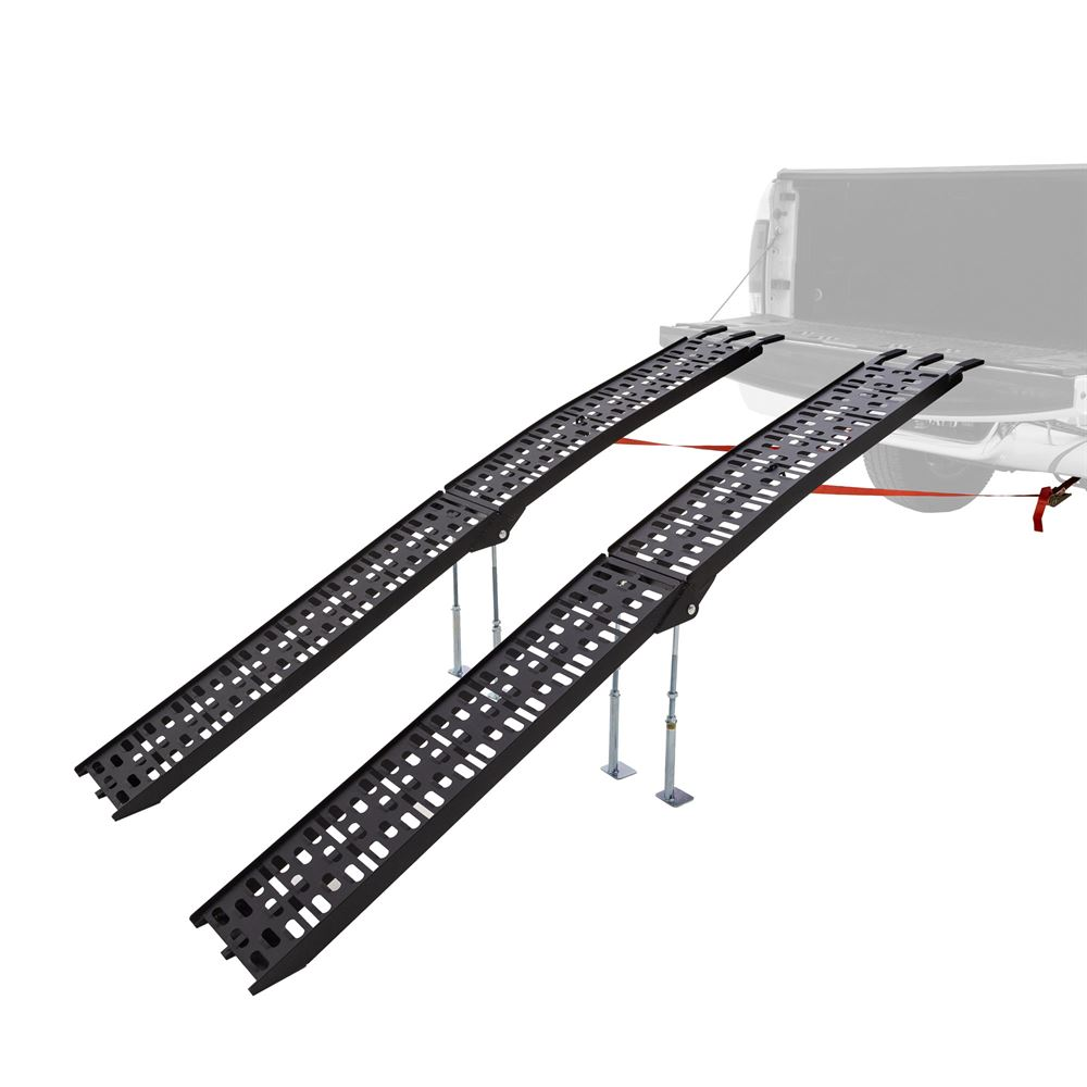 AFP-9012-2-DL-B Black Widow Aluminum Plate-Style Dual Runner ATV Ramps with Support Legs