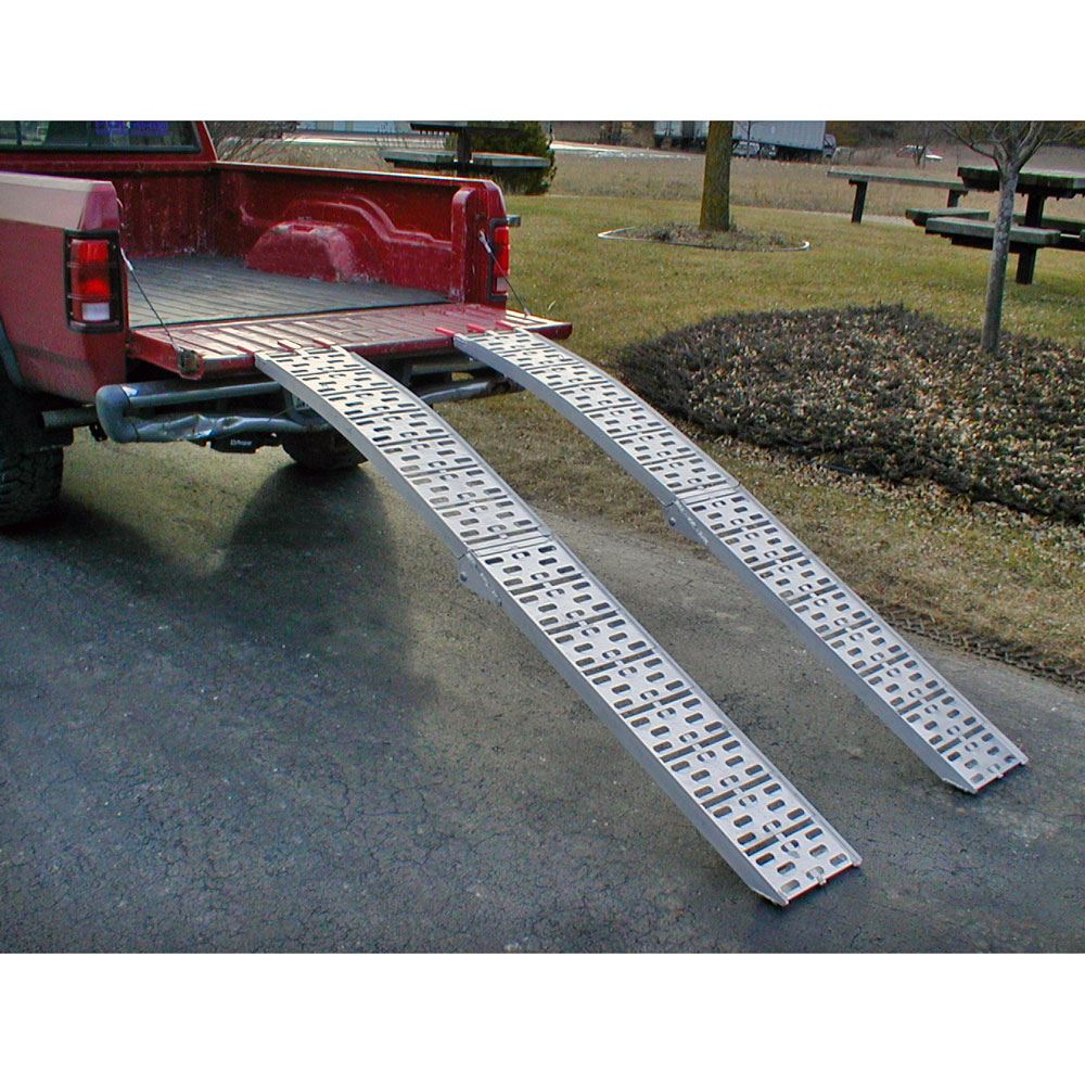 Aluminum Arched Folding Dual Runner Garden Tractor Ramps