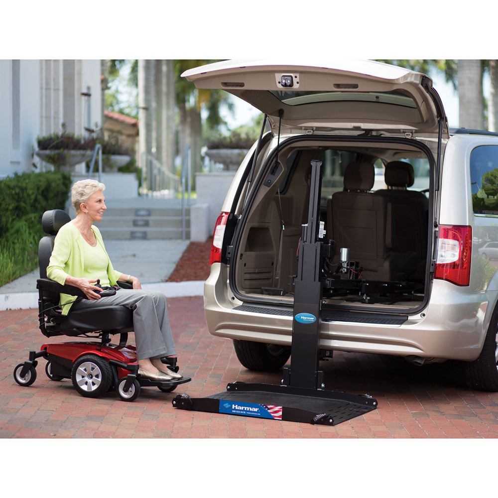Harmar electric inside outside vehicle power chair for Motorized wheelchair lifts for cars
