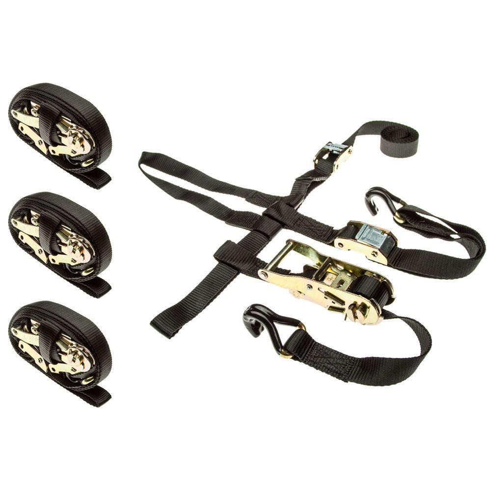 ATV-WHL-TIE-4 4-Pack of ATVUTV Wheel Anchor Bonnet Ratcheting Tie-Down Straps
