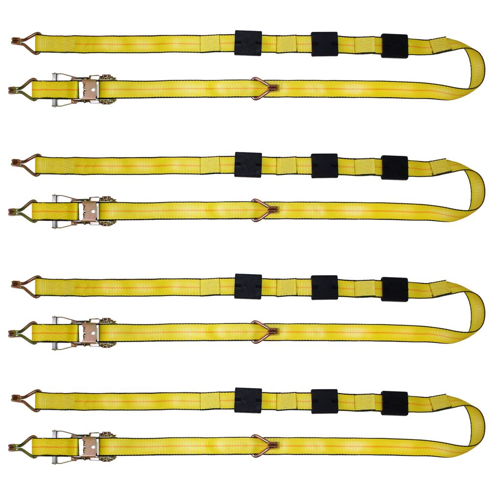 BA-R100-4 4-Pack of BA Products 2 x 10 Ratchet Tie-Down Assembly with Double J Hook Ends