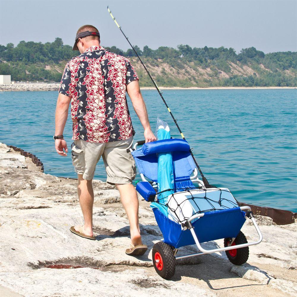BFC BLUE Blue Folding Beach Fishing Chair Cart 4