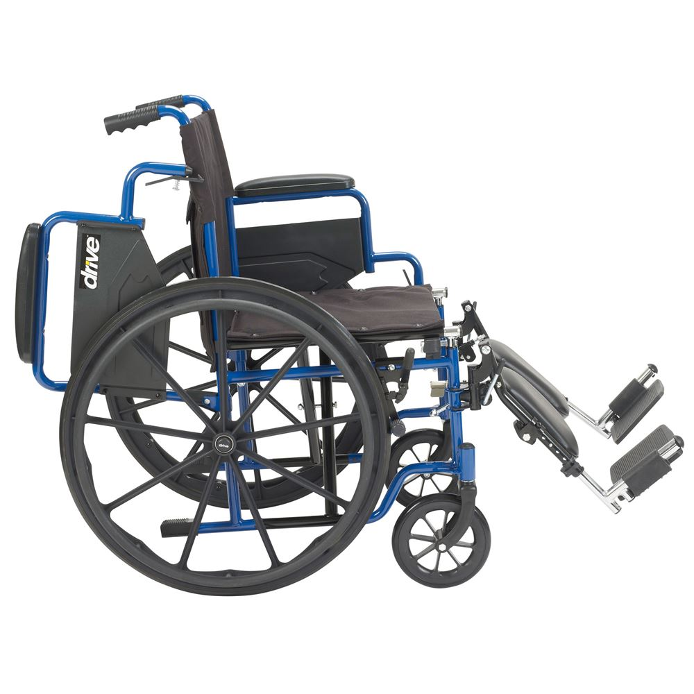 Drive Medical Blue Streak Wheelchair with Flip Back Desk Arms and Swing  Away Footrests
