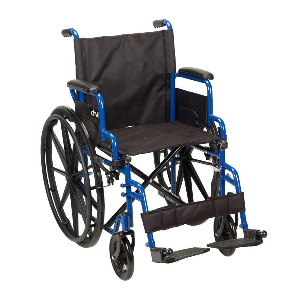 BLS20FBD-SF Standard Legrests - Blue Streak Wheelchair with Flip Back Desk Arms - 20 Seat
