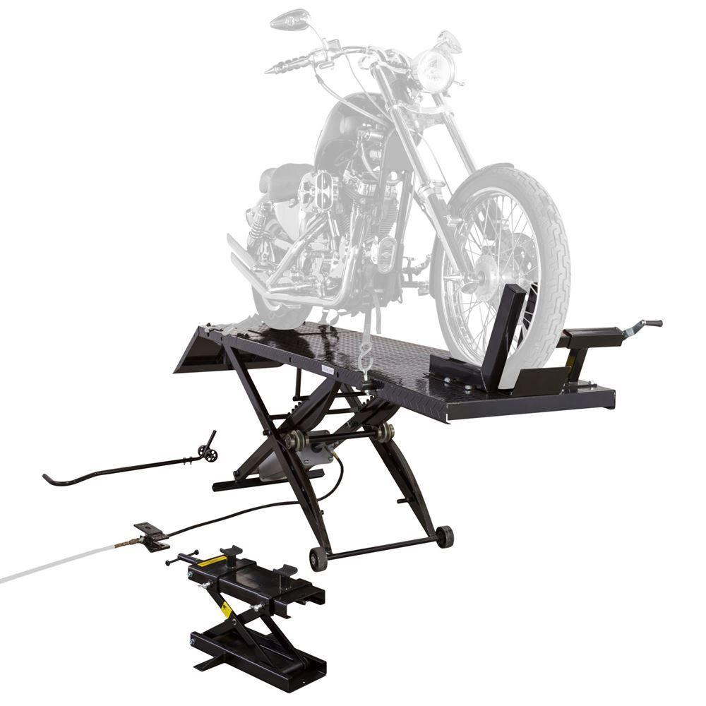 Black Widow Extra Long Pneumatic Motorcycle Lift Table - 1,000 lb  Capacity