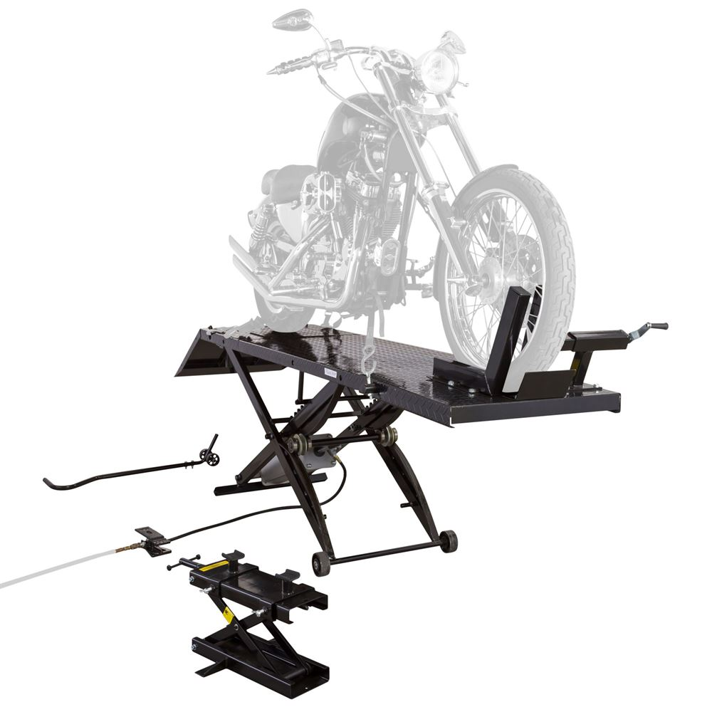 BW-1000A-XL Black Widow Extra Long Pneumatic Motorcycle Lift Table - 1000 lb Capacity