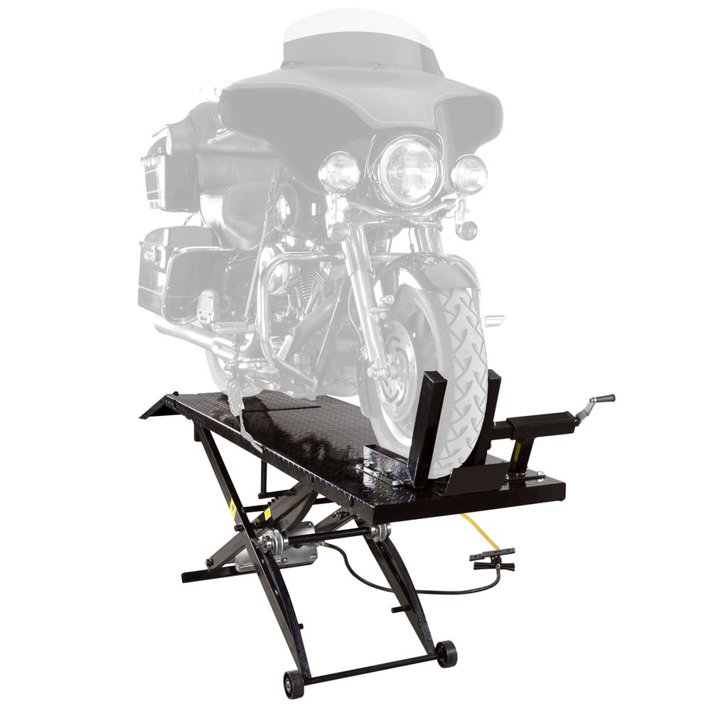 BW-1000A Black Widow Pneumatic Motorcycle Lift Table - 1000 lb Capacity