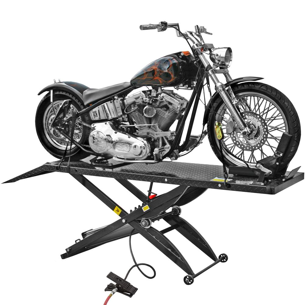 BW-1000A Black Widow Pneumatic Motorcycle Lift Table - 1000 lb Capacity 1