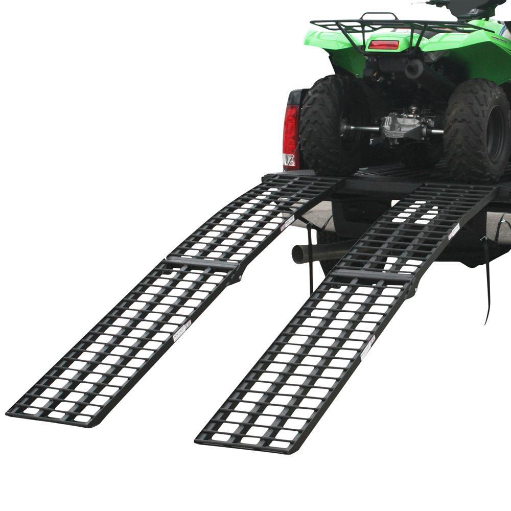 BW-10817-HD-2 9 L x 18-14 W Black Widow Aluminum Extra-Wide 4-Beam Arched Dual Runner Folding ATV Ramps