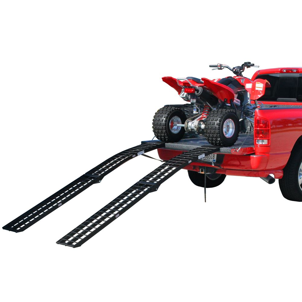 BW-12012-2 10 L x 12-14 W Black Widow Aluminum Powder Coated Dual Runner Folding ATV Ramps