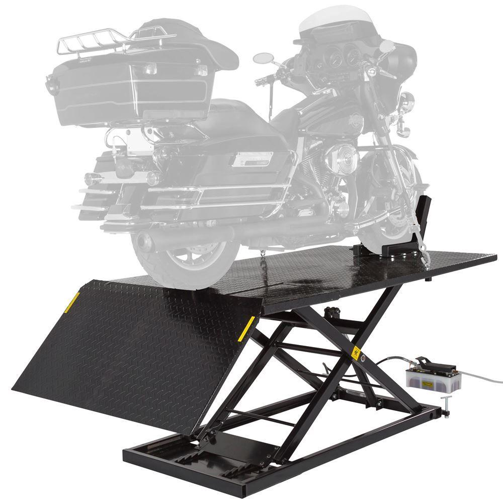 BW-1500AO-V2-MC Black Widow Extra Wide AirHydraulic Motorcycle Lift Table - 1500 lb Capacity
