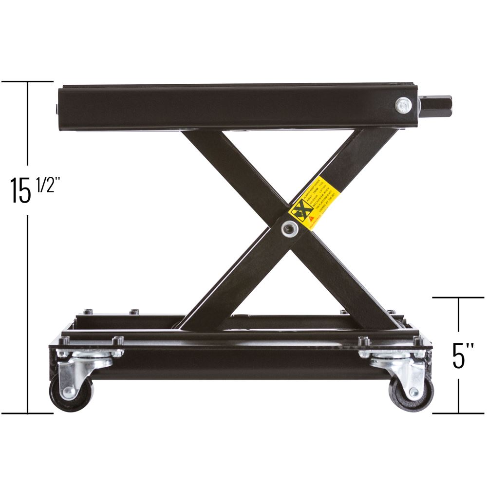 Black Widow Steel Motorcycle Scissor Jack with Dolly
