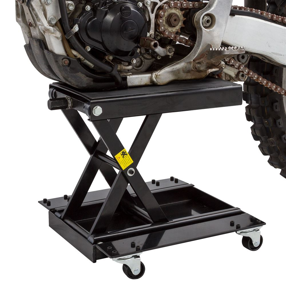 Black Widow motorcycle scissor jack extended height dimensions with dolly