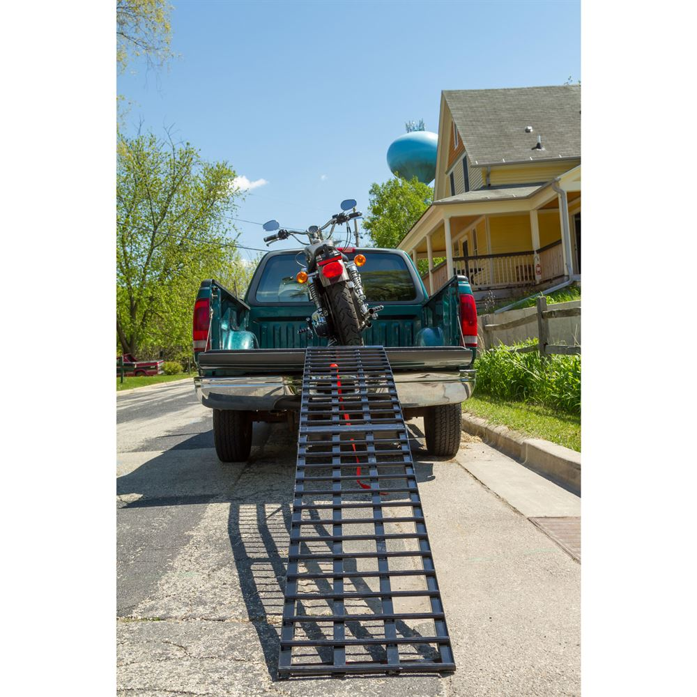 BW-SNGL-MC-HD Black Widow Aluminum 4-Beam Folding Arched Single Runner Motorcycle Ramp 2