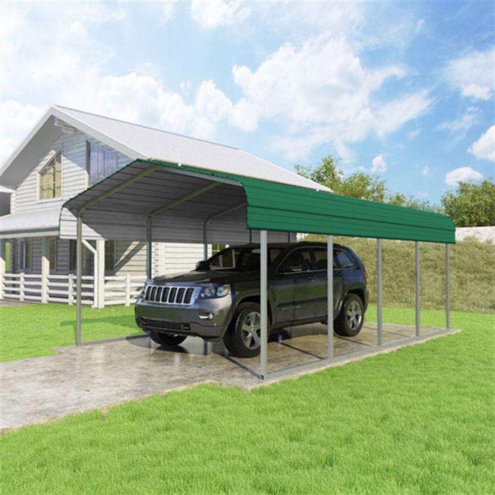 CCP12207-FG 12W x 20L x 7H Forest Green Single Car Carport by Versatube