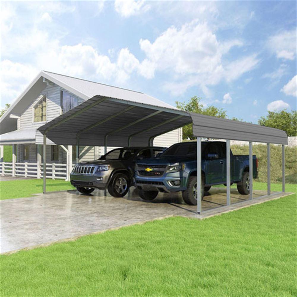 CCP20207-C 20W x 20L x 7H Charcoal 2-Car Carport by Versatube