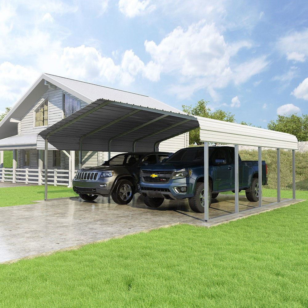 CCP20207-W 20W x 20L x 7H White 2-Car Carport by Versatube