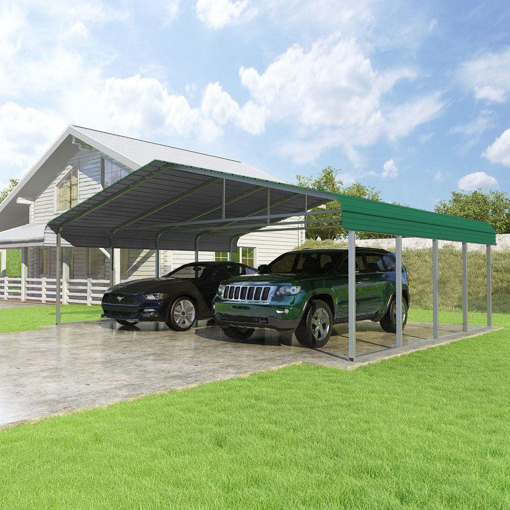 CCP24207-FG 24W x 20L x 7H Forest Green Versatube 2-Car Carport