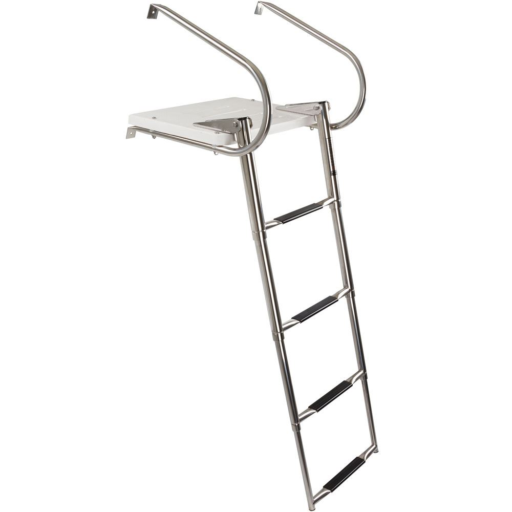 CL-SP-4S Harbor Mate 4 Step Telescoping Boat Ladder w Swim Platform