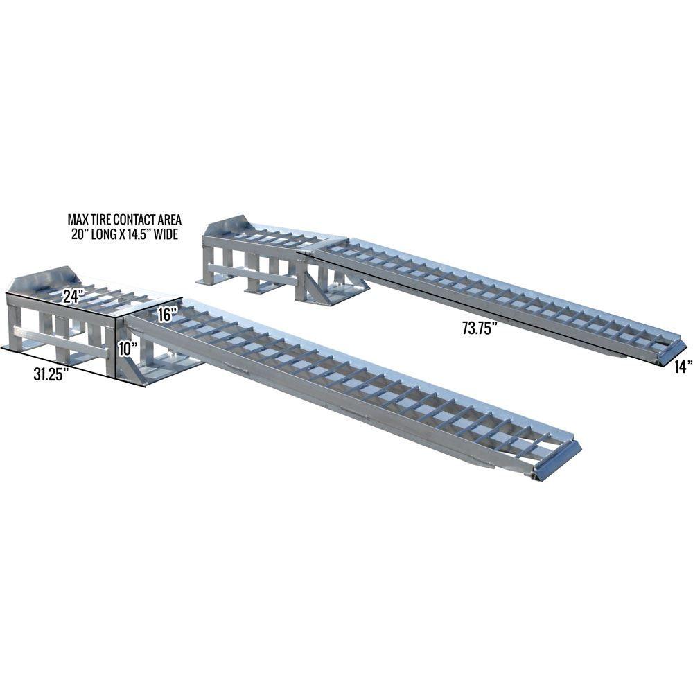 Extra Long Aluminum 2 Piece Car Service Ramps 3 000 Lbs