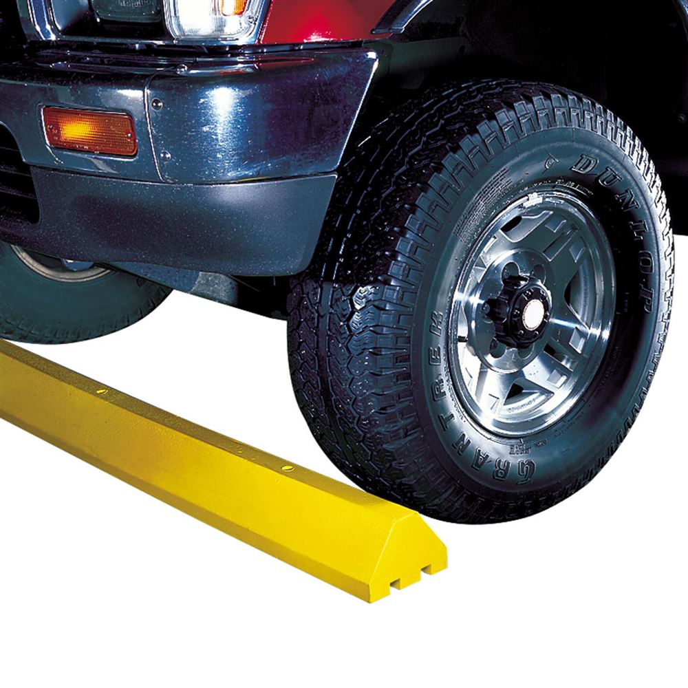 CS4S-H-SPIKE-Y 4 L x 6 W Checkers Parking Stop with Steel Spike - Yellow
