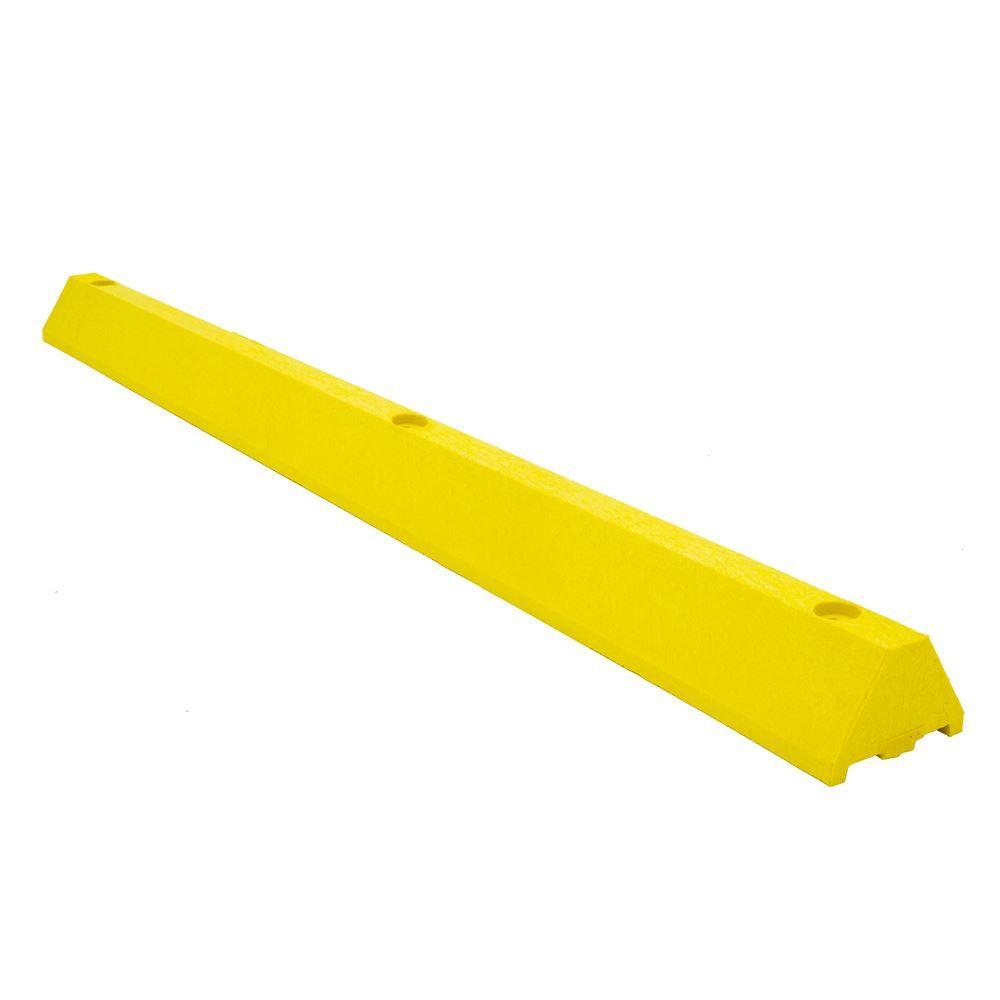 CS6S-H-SPIKE-Y 6 L x 7 W x 4 H Checkers Parking Stop with Steel Spike - Yellow