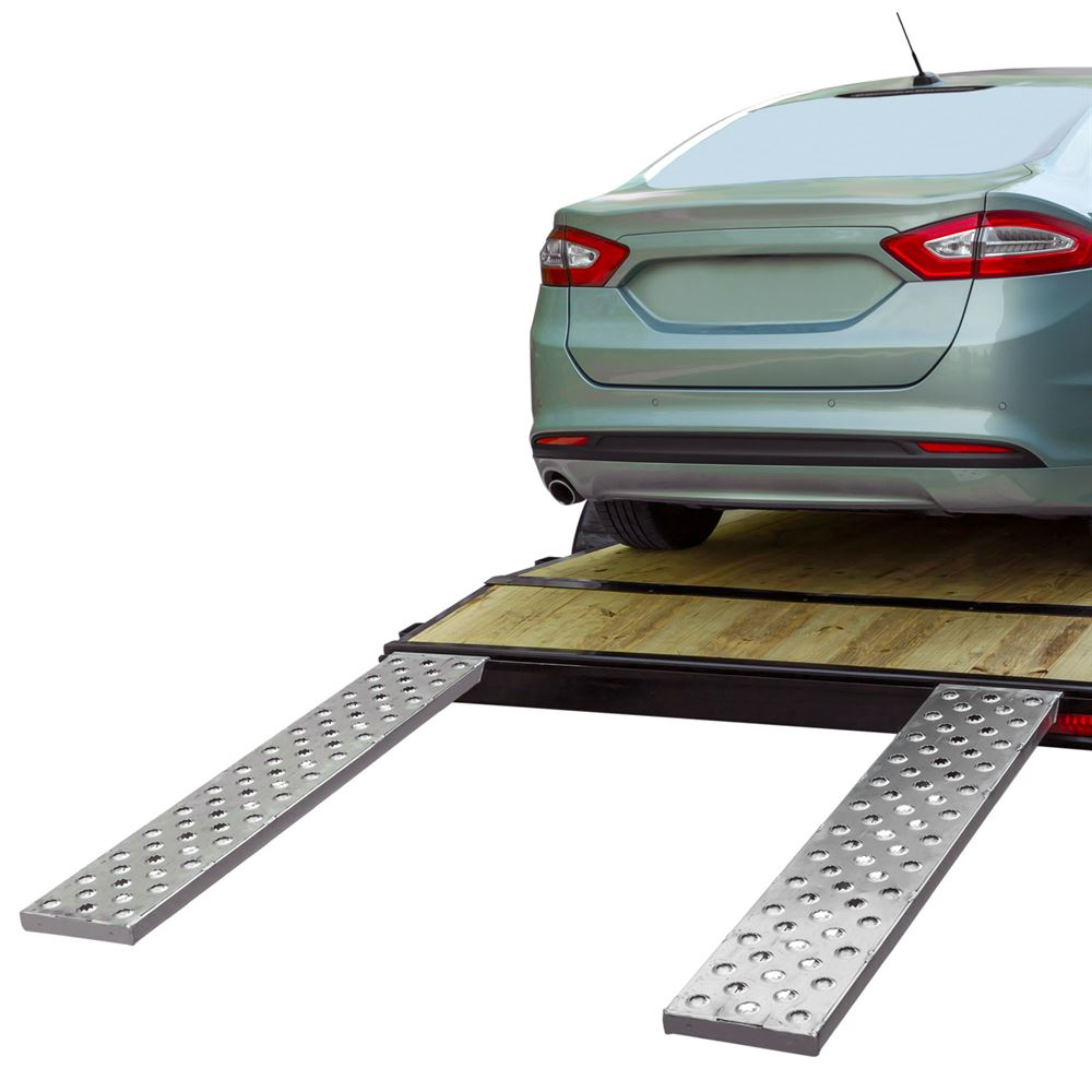 CTR-PP EZ Traction Hybrid Hook  Plate End Aluminum Car Trailer Ramps - 2500 3000  4000 lb per axle Capacity