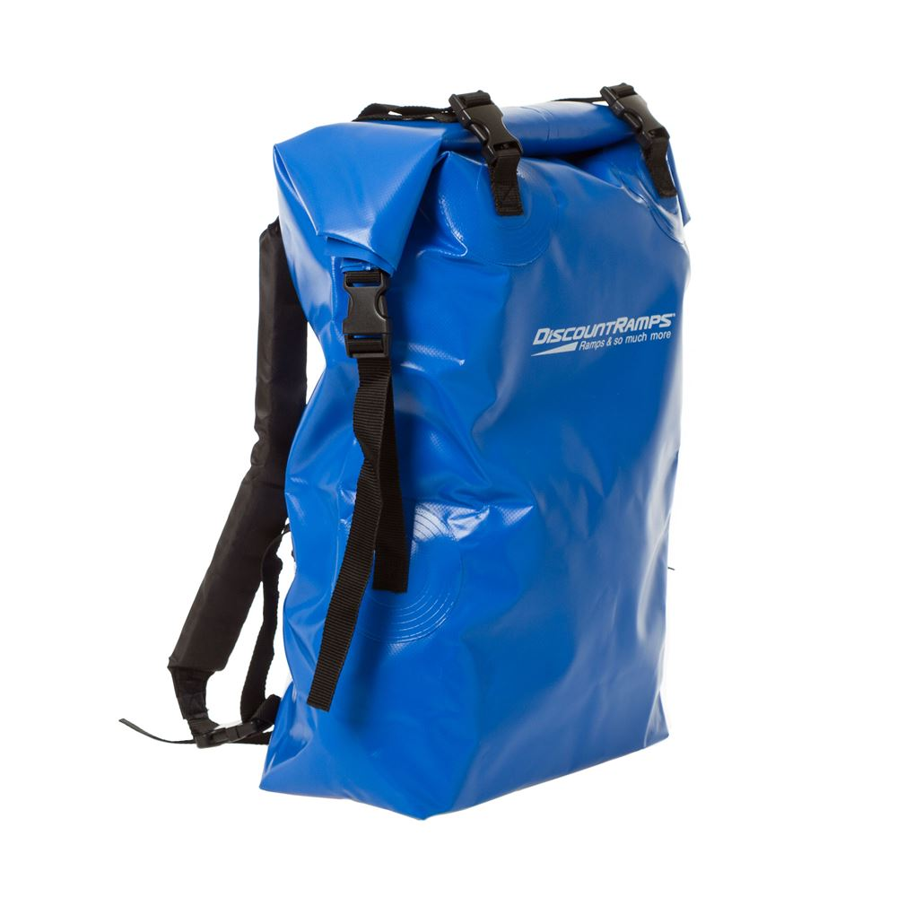 Angled view of the dry bag backpack