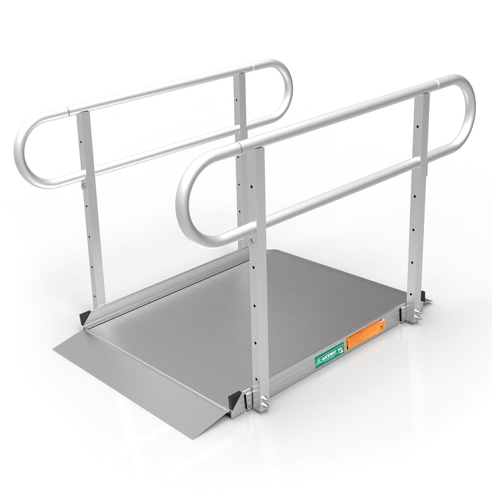 GATEWAY3GTLHR04 4 L x 3 W EZ-ACCESS GATEWAY 3G Aluminum Wheelchair Access Ramp with Two-Line Handrails