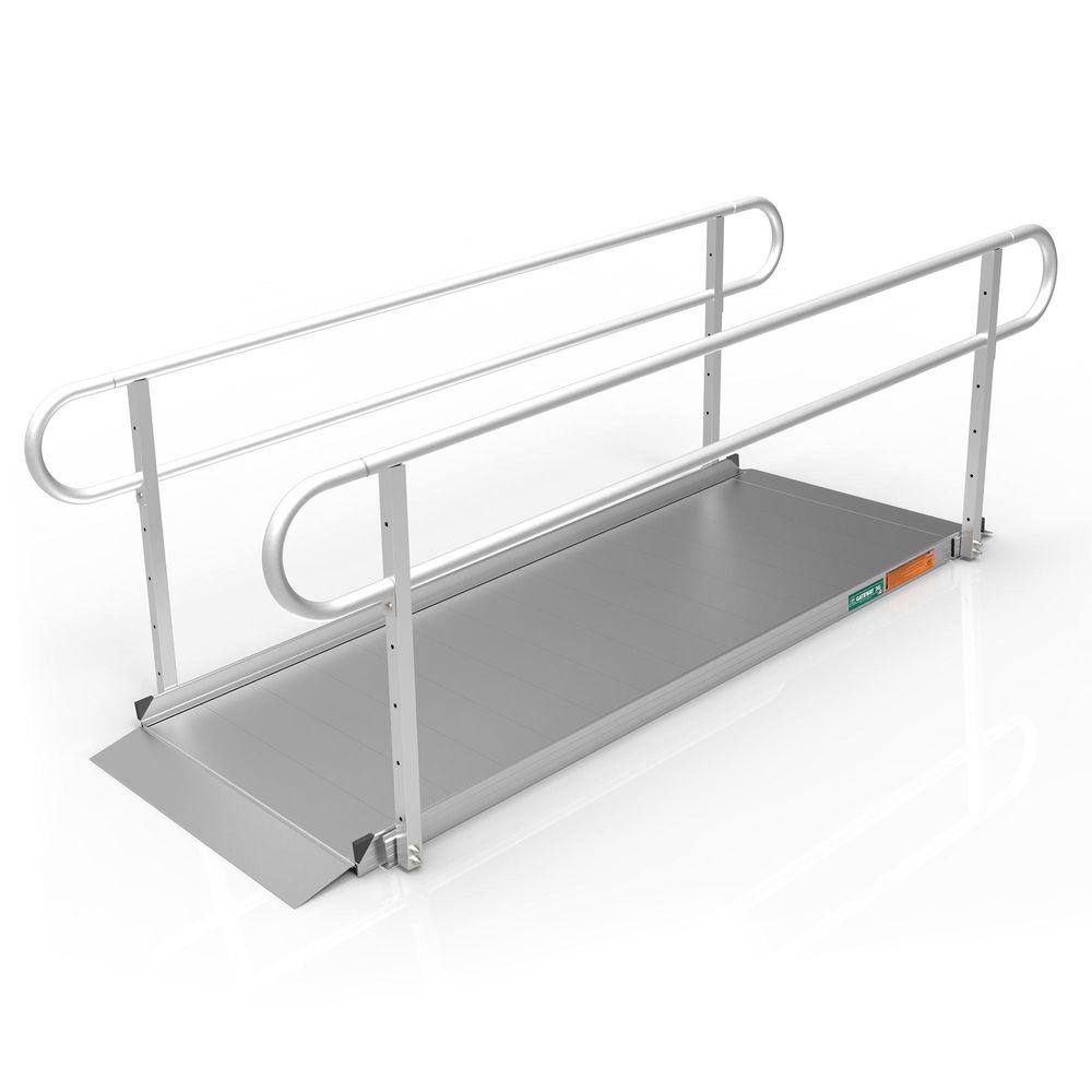 GATEWAY3GTLHR08 8 L x 3 W EZ-ACCESS GATEWAY 3G Aluminum Wheelchair Access Ramp with Two-Line Handrails