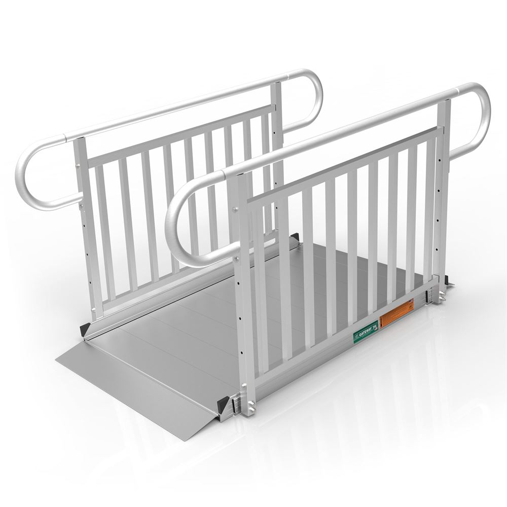 GATEWAY3GVPHR05 5 L x 3 W EZ-ACCESS GATEWAY 3G Aluminum Wheelchair Access Ramp with Vertical Picket Handrails