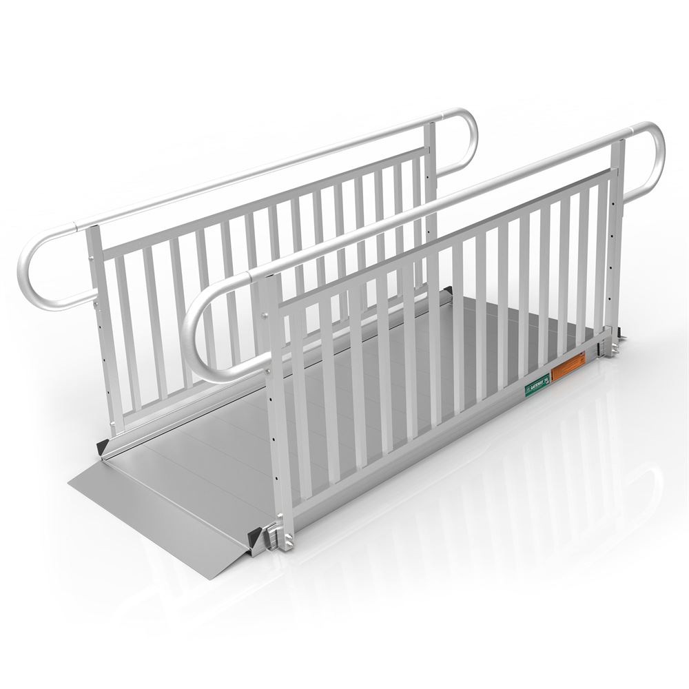 GATEWAY3GVPHR07 7 L x 3 W EZ-ACCESS GATEWAY 3G Aluminum Wheelchair Access Ramp with Vertical Picket Handrails