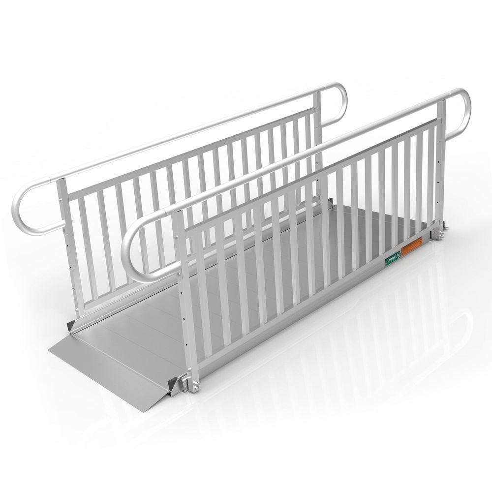 GATEWAY3GVPHR08 8 L x 3 W EZ-ACCESS GATEWAY 3G Aluminum Wheelchair Access Ramp with Vertical Picket Handrails